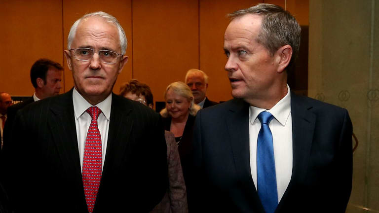 Up in the air: Prime Minister Malcolm Turnbull and Opposition Leader Bill Shorten.