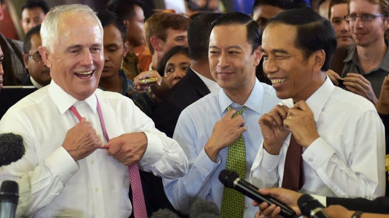 Relaxed: Prime Minister Malcolm Turnbull and Indonesian President Joko Widodo take off their ties during a visit to Tanah Abang Market in Jakarta in November 2015.