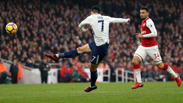 Off target: Tottenham's Son Heung-min shoots for goal.