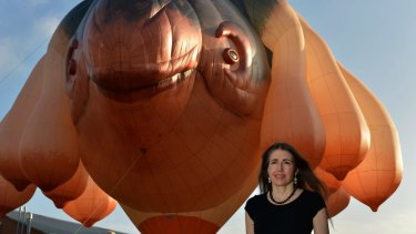 Patricia Pinccinini with her Skywhale creation.