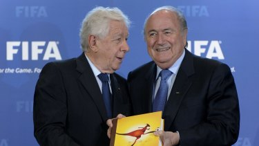 Football Federation Australia's Frank Lowy (left) with FIFA president Sepp Blatter.
