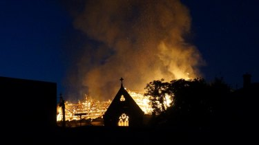 St James Church in flames.