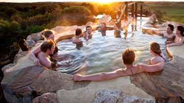 Combine friend-gathering with some R&R with the hilltop pool at Peninsula Hot Springs.