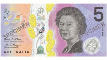 The new $5 note has tactile features for blind people.