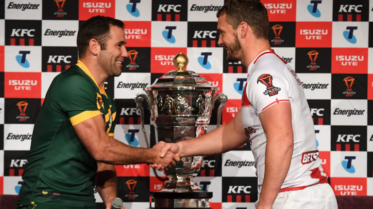Australian captain Cameron Smith and England's Sean O'Loughlin at the launch of the Rugby League World Cup, but the sport is still battling for global recognition.