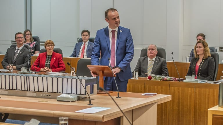 "Chief Minister Andrew Barr told the first sitting of the Legislative Assembly that the government now had a ""clear mandate"" for light rail."