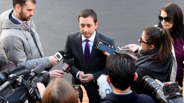 Matthew Guy answers questions last week about his dinner with alleged Mafia boss Tony Madafferi.
