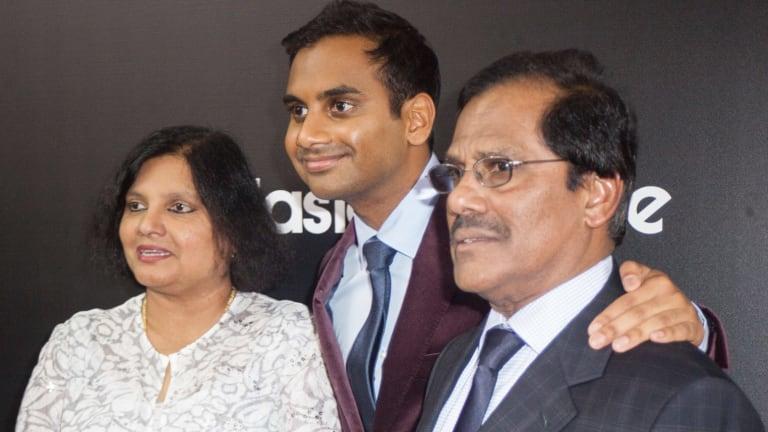 Aziz Ansari with his parents Fatima and Shoukath.