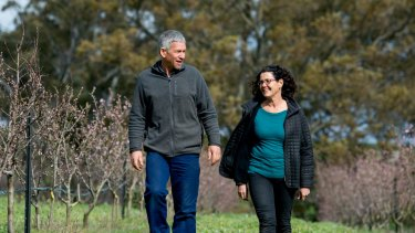 Fruit farmers Katie and Hugh Finlay on their property, Mount Alexander Fruit Gardens, at Harcourt.