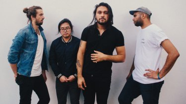 "Gang of Youths's David Le'aupepe (third from left) is ""still hunting for a great tragedy""."