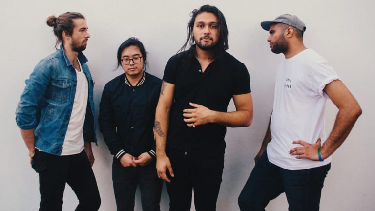 """Gang of Youths's David Le'aupepe (third from left) is """"still hunting for a great tragedy""""."""