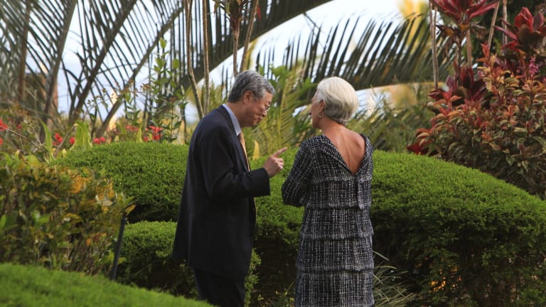 Chinese central bank governor Zhou Xiaochuan and IMF Managing Director Christine Lagarde at the G20 meeting in Cairns last year. Meeting again on Sunday at a panel about monetary policy in Beijing, Zhour pressed for the yuan as a reserve currency.