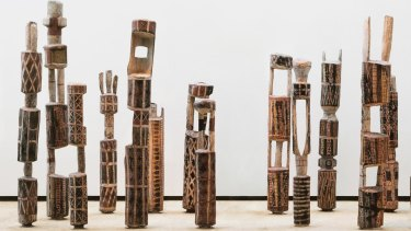 Tutini (Pukumani grave posts) by Laurie Nelson Mungatopi , Bob One Apuatimi, Jack Yarunga, Don Burakmadjua, Charlie Quiet Kwangdini and Unknown, on display at the Art Gallery of New South Wales.