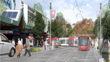 An artist's impression of a proposed light rail service through Parramatta.