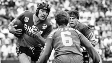 Back in the day: Parramatta Eels forward Peter Wynn in action in 1988.