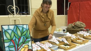 Fiona Porteous at Bent Shed Produce stall at Farmers and Foodies Market, Kingston.