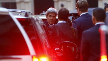 US Secretary of State John Kerry on Monday leaves the venue for nuclear talks in Vienna.