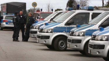 Police near Alsdorf in the Aachen region of Germany on Tuesday.
