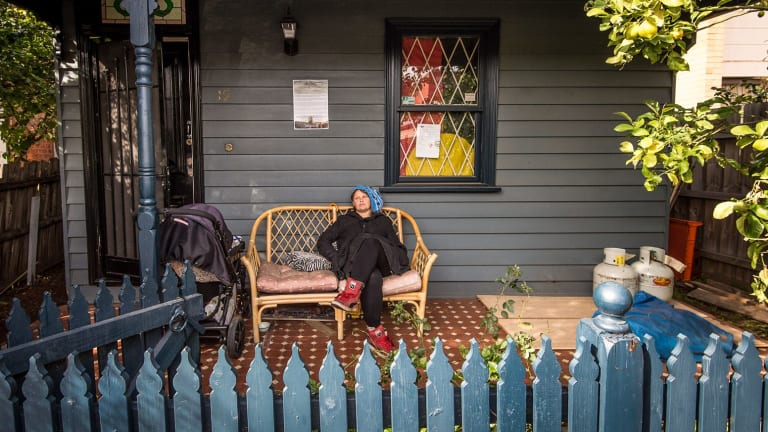 One of the squatters pictured at a Bendigo Street house in August.