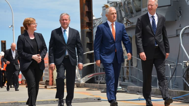 Malcolm Turnbull  with Senator Linda Reynolds (left), WA Premier Colin Barnett and  Austal chief executive David Singleton.