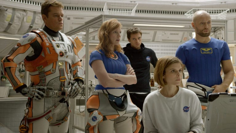 NASA crew: (from left) Matt Damon, Jessica Chastain, Kate Mara, Sebastian Stan and Aksel Hennie.