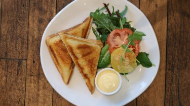 Jaffle stuffed with rotisserie chicken at Boronia Kitchen.