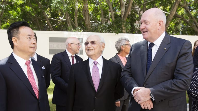Chau Chak Wing with Governor-General Peter Cosgrove (right) and architect Frank Gehry.