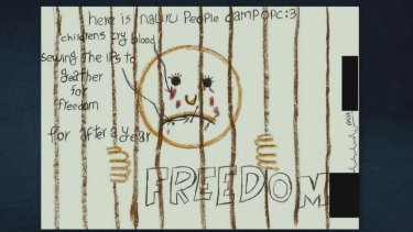 A drawing from a detention centre featured in <i>Chasing Asylum</i>.
