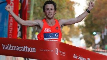 Liam Adams wins the Sydney Morning Herald Half Marathon.