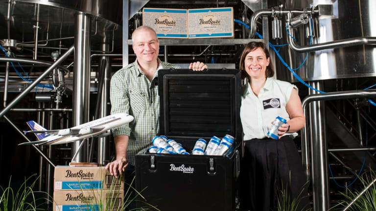 BentSpoke owners Richard Watkins and Tracy Margrain. BentSpoke Brewery has been announced as the craft beer partner for Singapore Airlines for Sydney and Melbourne flights.