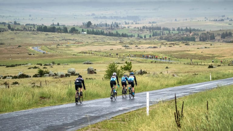 Riders out on the road at L'Etape.