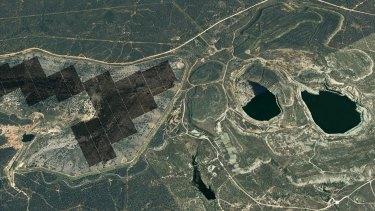 The solar farm (left) and hydro storage facility (right).