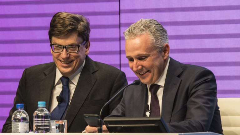 Telstra chief financial officer Warwick Bray and  chief executive Andy Penn announce the full-year financial results.