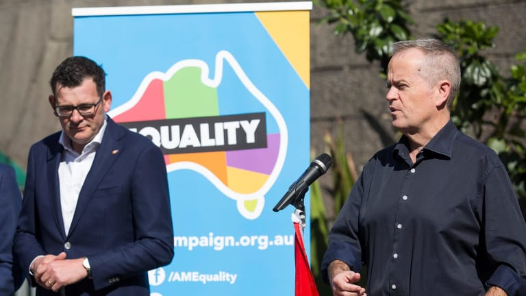 Premier Daniel Andrews and federal Opposition Leader Bill Shorten at Sunday's rally.