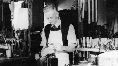 Robert Newbound in his wooden legs workshop in Adelaide.