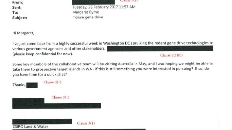 "CSIRO correspondence on ""spruiking rodent gene drive technologies"" in Washington. Obtained by Edward Hammond/Third World Network under US open records laws."
