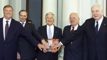 Labor Leaders Paul Keating, Bob Hawke , Bill Hayden and Gough Whitlam together in Melbourne in 2001 for the launch of the book True Believers, about the story of the Federal Parliamentary Labor Party.