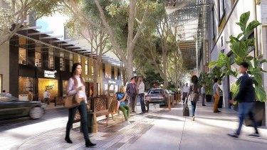 Concept art for Brisbane City Council's Edward Street revitalisation project.