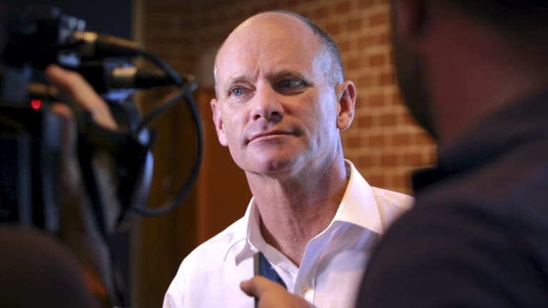 Premier Campbell Newman speaking to media at Newmarket State School on election day, Brisbane.