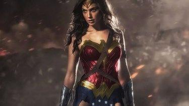 Gal Gadot in costume as Wonder Woman.