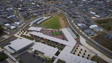Aerial view of The Ponds High School in Sydney's west which was built in 2015 but is already at capacity.