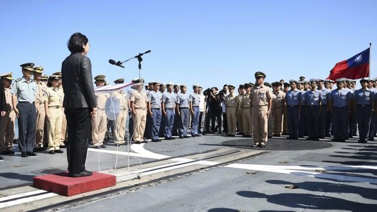 Taiwan President Tsai Ing-wen speaking to naval officers.