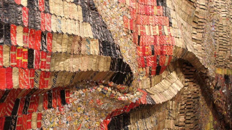 Part of the first major exhibition in Australia by El Anatsui