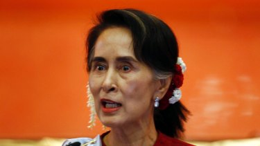 """Myanmar State Counsellor Aung San Suu Kyi speaks during the """"Peace Talk"""" conference in Myanmar on January 1."""
