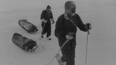 Sir Ranulph Fiennes (rear) and Charles Burton trekking across the Arctic wastes on their way to the North Pole in 1982.