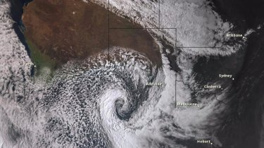 A Himawari-8 satellite image showing the storm near South Australia on Wednesday.
