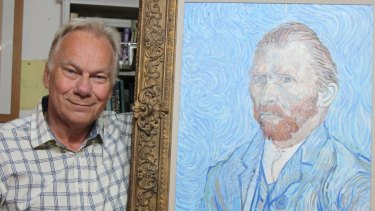 John Myatt, a British painter imprisoned for his involvement in what is described as the 20th century's biggest art forgery, poses with a fake self-portrait of Vincent van Gogh at his home in  England.