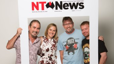 The <i>NT News</i> staff include (from left) former editor Julian Ricci, present editor Rachel Wood, online editor David Krantz and Dick Joke Correspondent David Wood.