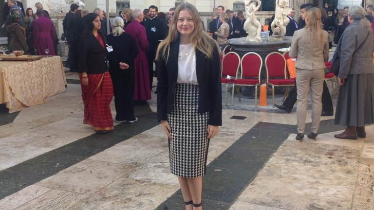 Inspired pledge against slavery: Grace Forrest, 21, witnessed the signing of the document at the 16th-century Casina Pio IV villa in Vatican City.