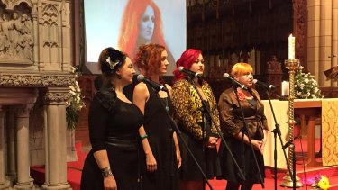 Women in Voice perform at Lloyd's funeral at St John's Cathedral.